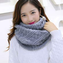Thick Warm Lic Scarf for Women Lovely Crochet Plaid Scarves Long Knitted Autumn Snud for Women Ring Scarves White Winter Scarfs(China)