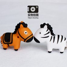 Africa Horse Zebra Mini Noise-making Keychain with LED light mini flashlight bag accessories car decoration doll small gift cute