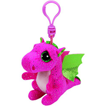 "Ty Beanie Boos Darla Pink Dragon Clip 3"" Keychain Plush Stuffed Animal Collectible Doll Toy"