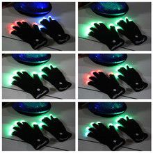 1 pair Party LED Gloves Rave Light Flashing Finger Lighting Gloves Glow Mittens Magic Black Gloves Rave Party Accessories(China)