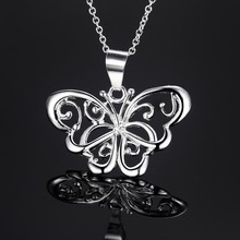 2016 Hot salling hollow butterfly Chain Necklace Luxurious Paragraph fashion For Women Loving Gift Silver Plated PN615