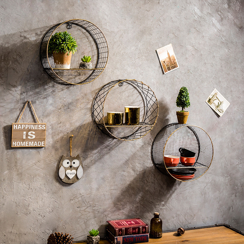 3 Sizes Retro Wall-Mounted Metal Rack Circular Mesh Iron Shelf Industrial Style Round Shelf Office Sundries Organizer Home Decor 9