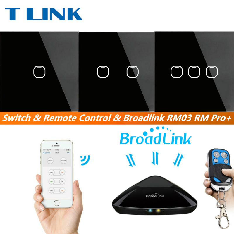 TLINK Broadlink EU Standard Touch Wall Light Touch Screen Switch Black Crystal Glass Switch Panel 1 2 3 gang 1 Way Touch Switch<br>