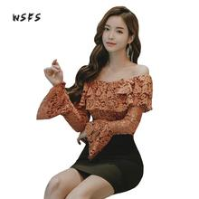 Buy Wsfs 2pieces Women Lace Dresses White Long Flare Sleeve Slash Neck Shoulder Dress Vintage 2017 Bandage Black Mini Sexy Dress for $34.81 in AliExpress store