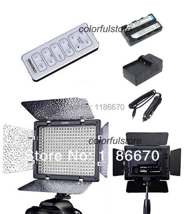 Free Ship! Led Video Light YN-300 YN300 + NP-F550 F570 Battery + Car Charger + IR Remote For Canon Nikon Pentax Olympus DSLR Cam<br><br>Aliexpress
