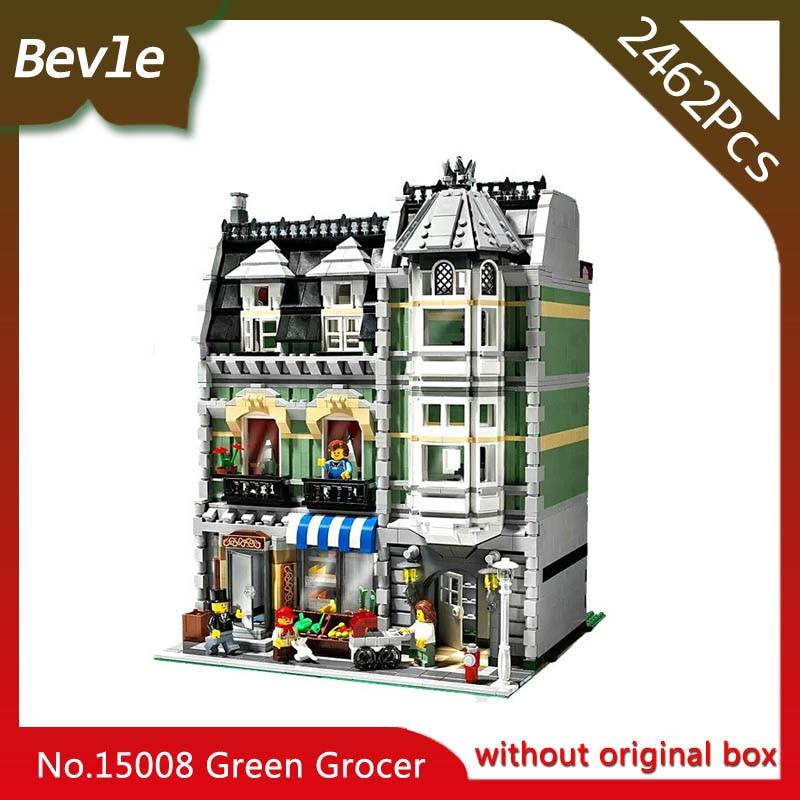 Bevle Store LEPIN 15008 2462Pcs street View series Green Grocer Building Kits Blocks set Bricks For Children Toys 10185 Gift<br>