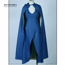 2017 new Film Game of Thrones Cosplay Daenerys Targaryen Costume Blue Dress Cloak A Song of Ice and Fire Movie