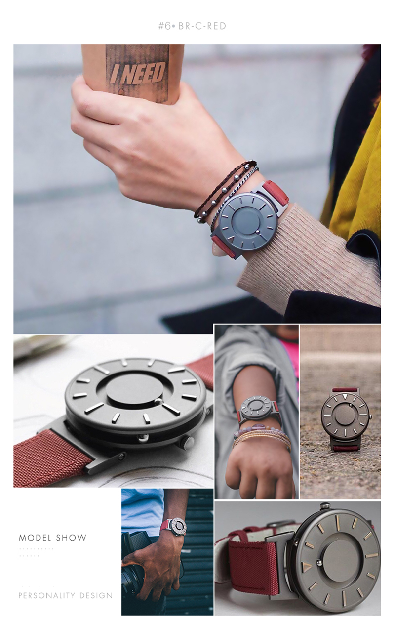 EUTOUR Women Watches Magnetic Ball Pointer Creative Ladies Watch Simple Fashion Pink Canvas Strap Wristwatches For Blind Person (8)