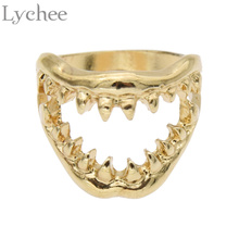 Lychee Gothic Punk Devil Mouth Tooth Mini Finger Ring Silver Gold Color Fancy Costume Ring Jewelry for Men Women(China)