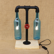 Modern industry glass Bottle lampshade desk light include G4 light bulb wood base tabel light for bedroom caffe livingroom 220V(China)
