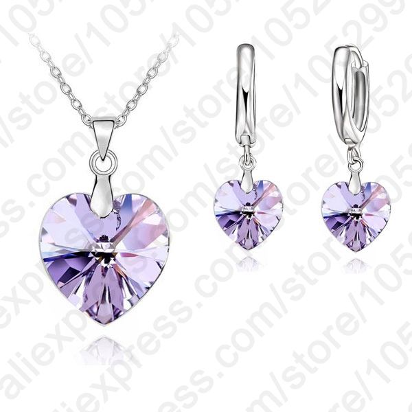 One-Set-Austrian-Crystal-925-Sterling-Silver-Jewelry-Heart-Pendant-Necklaces-Lever-Back-Earrings-Woman-Accessories (4)