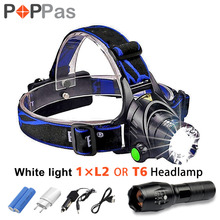 LED CREE XM-L T6 Chips Headlight Headlamp Rechargeable Zoom Head Light Lamp 2x18650 Battery+Car Charger+DC Charger +Flashlight