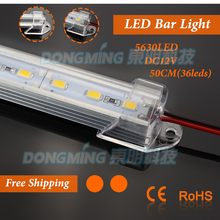 5pcs/lot U Aluminium Profile 36leds/50cm led bar light 5630 DC12V + pc covcer kitchen led under cabinet light(China)