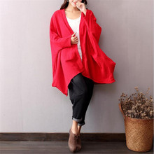 Brand women blouse,Big size soft loose casual cotton linen shirts, fashion batwing sleeve blouse black red white(China)
