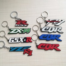 Key Chain 3D Soft Rubbe for Kawasaki ZX-14/CBR/F1/vr46 Motogp keychain key ring fans souvenirs