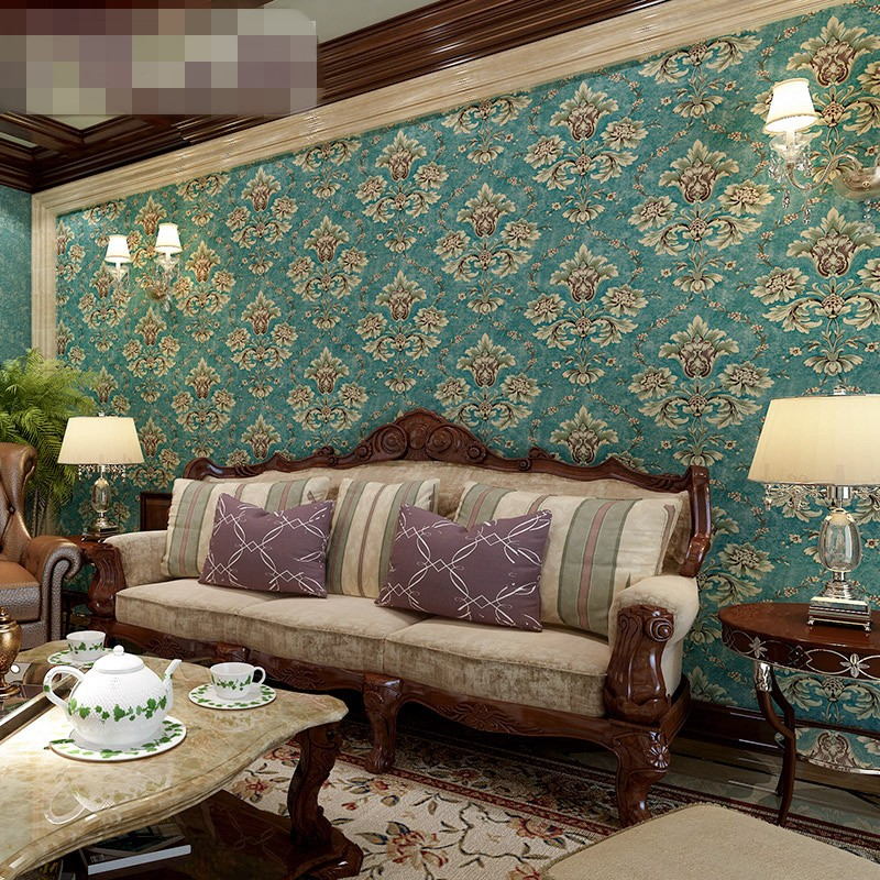 beibehang style retro pastoral non - woven wall paper blue - green Damascus living room bedroom wallpaper warm papel de parede<br>