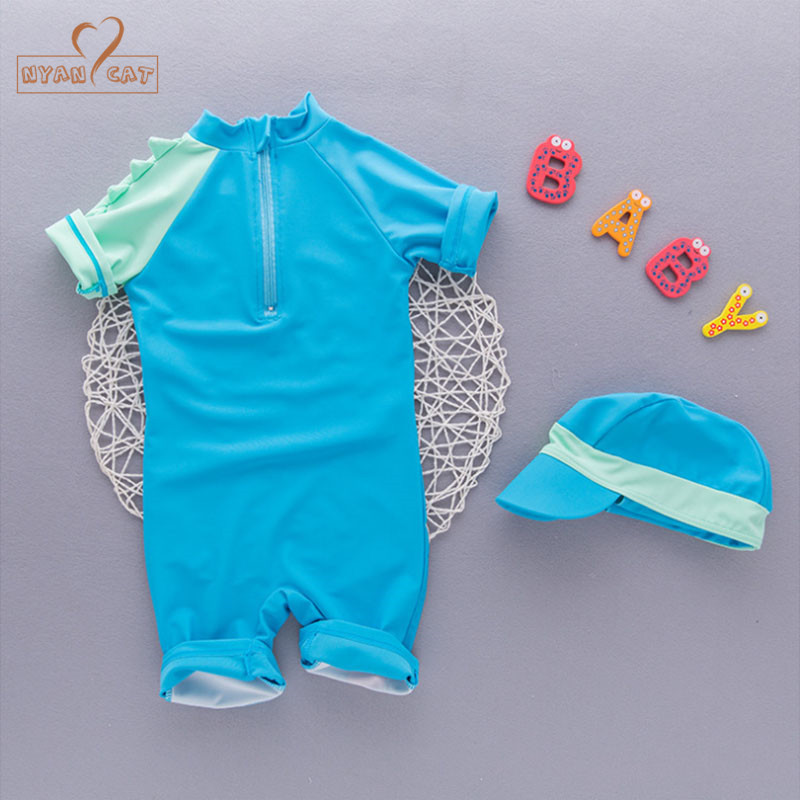 43966b6931f4 Aliexpress.com   Buy Nyan Cat summer baby boy swimwear+hat 2pcs set  dinosaur animals swimming suit infant toddler kids children spa beach  bathing from ...