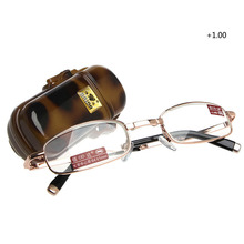 1PC Mini Foldable Reading Glasses Metal Full Frame Case Eyeglass +1.00 to +4.00(China)