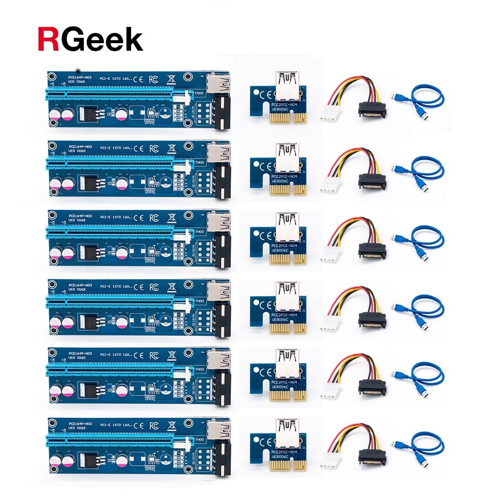 6pcs USB 3.0 PCI-E Riser Express 1X 4x 8x 16x Extender Riser Adapter Card SATA 15pin Male to 4pin Power Cable<br>