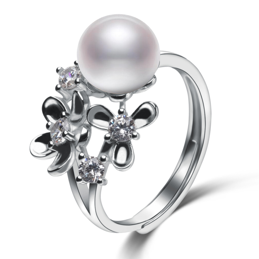 Flower shape Pearl Rings For Women\'s 8-9mm White N...