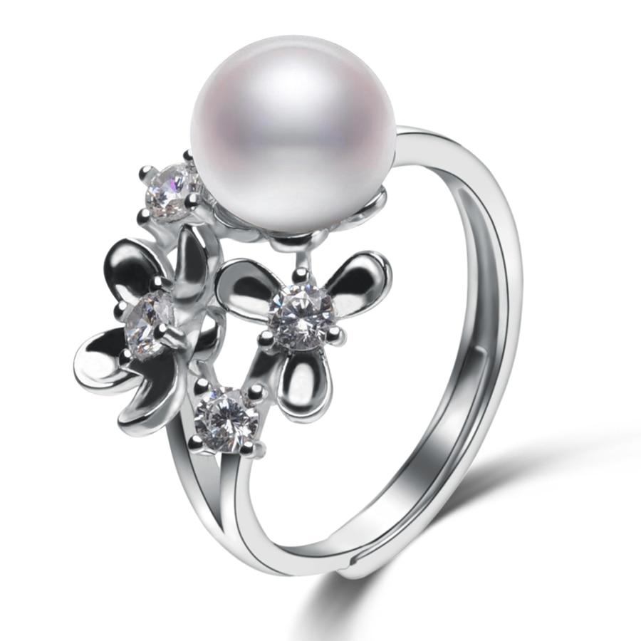 Flower shape Pearl Rings For Women\'s 8-9mm White N...