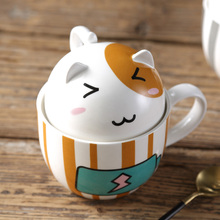 Kawaii Cartoon Lover Mug Creative Ceramic Milk Cup Personalized Porcelain Tea Cup 350ml Cute Tumbler For Friend Children Gift(China)