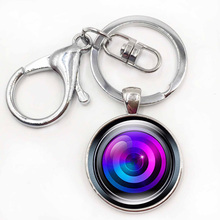 Silver Color Key Chain Camera Lens Keychain Jewelry Handmade Art Glass Pendant Keyring Key Ring for Women New Gifts