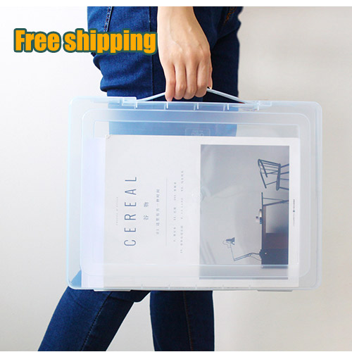 Newest! A4 File Storage Box Clear Plastic Document Case Desk Paper Organizers Large-capacity file box student school stationery<br><br>Aliexpress