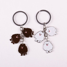 Wholesale cheap White / brown Pomeranian PET  Keychain dogs charm key rings for women car Tag key pendants Gift to best friend