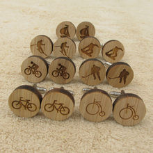 Fashion Wedding Anniversary Wood Cufflinks for Men Bike Bicycle Sport Cuff Links Laser Engraved(China)