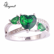 lingmei Fancy Heart cut Green CZ Silver Color Ring Size 6 7 8 9 10 Wholesale For Unisex Jewelry Precious Magnificent Sweetie(China)