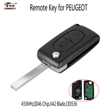 DANDKEY 433MHz 2 Buttons Auto Car Remote Key Case Fob Shell Cover Replacement ID46 Chip for Peugeot 207 307 308 VA2 Blade(China)