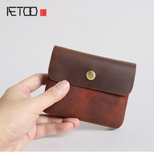 AETOO Men's Wallets Short Leather Bags Big Chests Cowhide Card Packs Youth Wallets Coin Purse Coins Hand