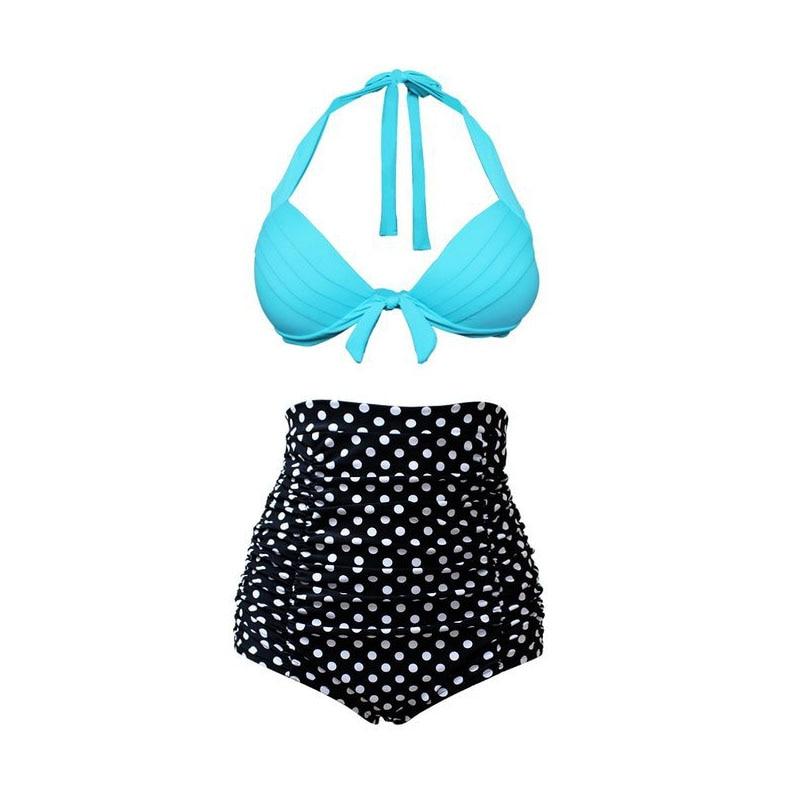 2017 Real New High Waist Swimsuit Women Pushup Bikini With Waisted Woman Black Swimsuits Swimwear Sexy Bathing Suit<br><br>Aliexpress