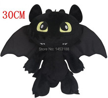 Free shipping 30cm 2015 NEW Hot Toys How To Train Your Dragon 2 Plush Toy Toothless Dragon Stuffed Animal Dolls Movie Toys