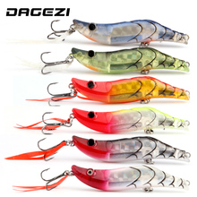 DAGEZI shrimp fishing lure 80mm 14.5g 6pcs/lot hard bait ABS plastic BBK hook for seawater fishing lures sea lure fishing tackle(China)