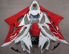 Hot Sales,Yzf600 R6 06 07 fairing For Yamaha Yzf R6 2006 2007 Sport Motorcycle Red and White Fairings (Injection molding)(China)