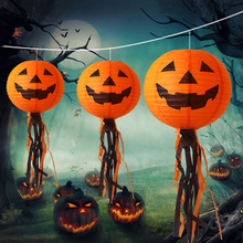 10pcs Dia 20/30cm Funny Halloween Pumpkin Face Paper Jack-o-Lantern With Strings Chinese Ball Balloons Lampshade Halloween Decor