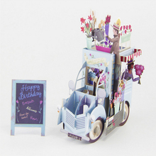 3D Stereoscopic Greeting Card Handmade Gift Pop Up Festoon Vehicle Greeting Card Christmas Valentine Birthday Invitation