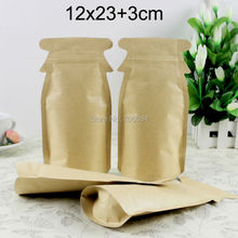 200PCS 12*23+3cm Brown Kraft Paper Bags self seal ziplock Paper Sugar Bags Packaging Bolsas Regalo Cookie Bag paper tea pouch
