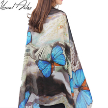 [Visual Axles] Big Butterfly Silk Scarf Brand Women Fashion Elegant Animal Fly Wing Soft Pure Silk Scarves Summer Beach Shawl