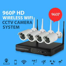LEF 1.3MP 4CH WIFI CCTV System 4PCS 960P Outdoor Wireless CCTV Kit Security Video Surveillance System