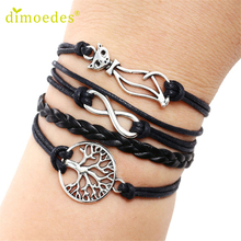 Diomedes Gussy Life wholesale Women Cat Tree Multilayer Knit Leather Rope Chain Charm Bracelet Gift Jan18