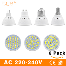 2017 New 6PCS/Lot Lampada Led Lamp E27 E14 GU10 MR16 220V Bombillas LED Spotlight Bulb SMD2835 48 60 80LEDs Lamparas LedLight(China)