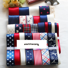 Free shipping 28 yards Classic navy style ribbon,Mix Style Printing Grosgrain Ribbon Bows Wedding Party Deco Craft