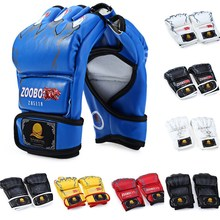 Zooboo Kick Boxing Gloves Half Finger Sanda Sports MMA Boxing Gloves Training Twins Gloves Thai Leather Boxing Gloves Men women(China)