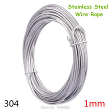 10m/lot 1mm High Stainless Steel Wire Rope Tensile Diameter 7X7 Structure Cable Gray(China)