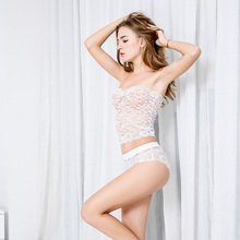 Europe Hot Sale S-5XL Large Size Brand Sexy MM Intimates Woman Lace Split Lingerie Wrapped Chest Bra Set Hollow Underwear