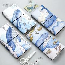 The Marine Wizard Whale PU Leather Cover Planner Notebook Diary Book Exercise Composition Binding Note Notepad Gift Stationery(China)