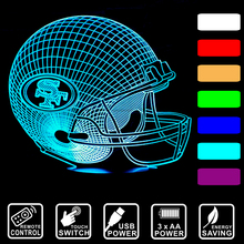 3D Visua LED night light Baseball cap San Francisco 49ers colorful USB table desk Lamp remote control/touch switch IY803655-27(China)